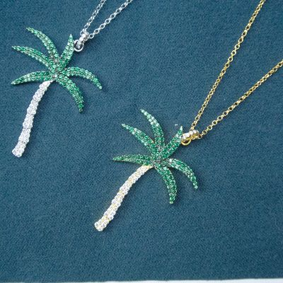 Coconut Tree 925 Silver Rhinestone Pendant Necklace