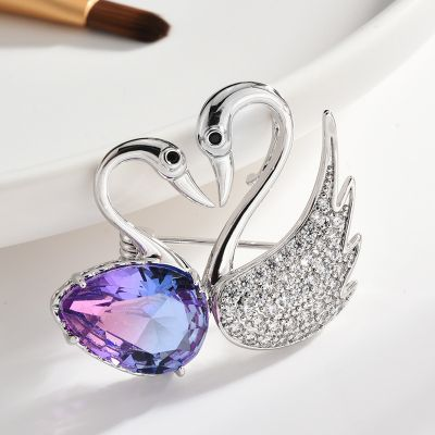 Colored Swan Crystal Brooch Pins for Work