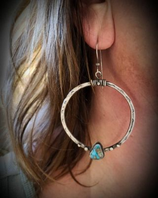 Composite Turquoise Sterling Silver Boho Hoop Earrings