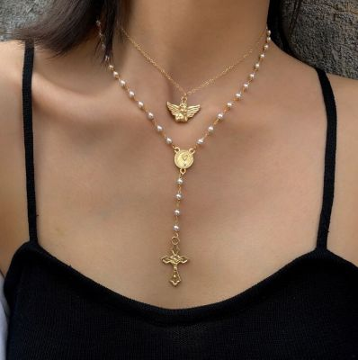 Cross&Angle Pendants Pearl Necklace Vintage Chain Necklace