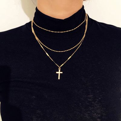 Cross Chain Multilayer Necklace Sweater Necklace