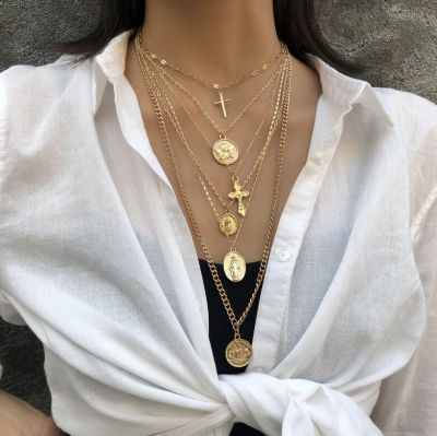 Cross Choker Chunky Necklace Layered Statement Necklace