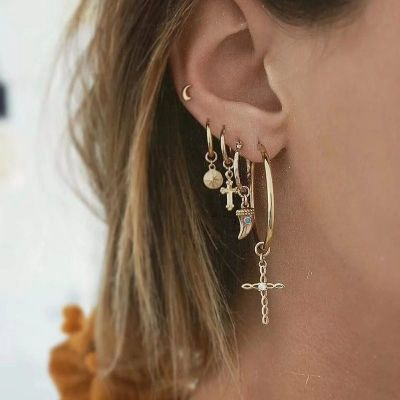 Cross Dangle Earring&Moon Ear Stud Earring Sets 5 Pcs
