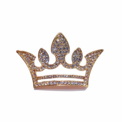 Crown Rhinestones Women Plated Pearls Brooch Pin