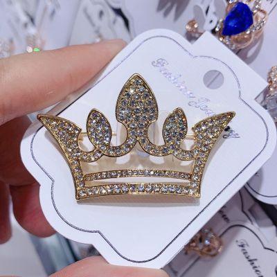 Crown Rhinestones Women Plated Pearls Brooch Pin