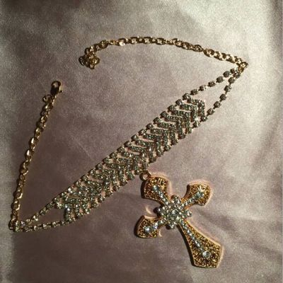 Crystal Big Cross Pendant Choker Necklace Party Statement Necklace