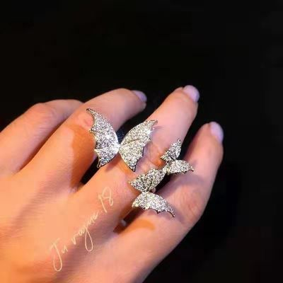 Crystal Butterfly Open Ring Wedding Adjustable Rings