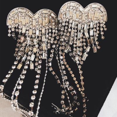 Crystal Heart Fringes Ear Stud Bridal Statement Earrings