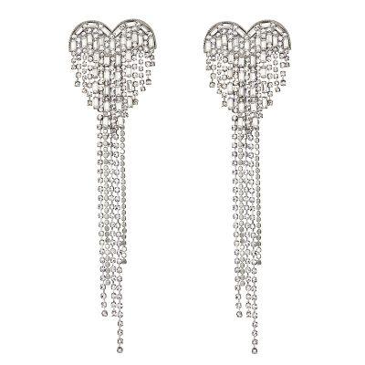 Crystal Heart Fringes Ear Stud Bridal Statement Earrings