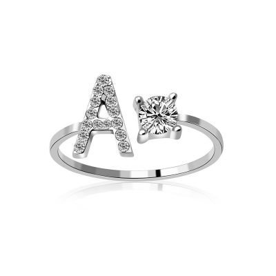 Cubic Zircon Alphabet Adjustabke Ring A-Z Rings Gift for Wedding Birthday