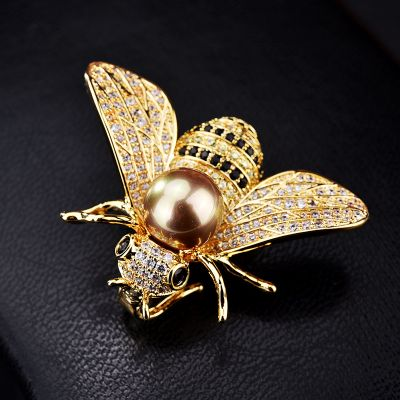 Cubic Zircon Bee Brooches Collar Pins for Work