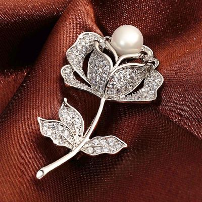 Cubic Zircon Cute Flower Rose Brooches for Wedding