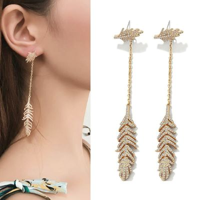 Cubic Zircon Feather Dangle Drop Earrings with S925 Pin Christmas Gifts