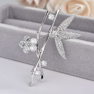 Cubic Zircon Flower Bamboo Crystal Women Brooches