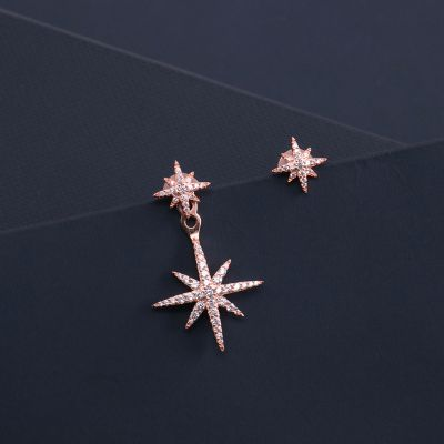 Cubic Zirconia Stars Mismatched S925 Sterling Silver Earrings