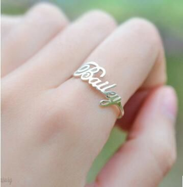 Customized Name Ring Adjustable DIY Rings Gifts for Bithday Valentine