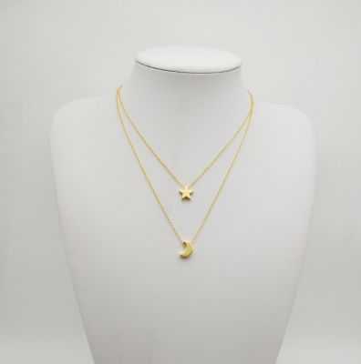 Cute Alloy Star and Moon Pendants Layering Necklace Jewelry Gifts for Her