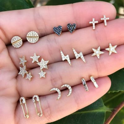 Cute Cross Heart Moon Stud Earrings Party Earring Set 9 PC