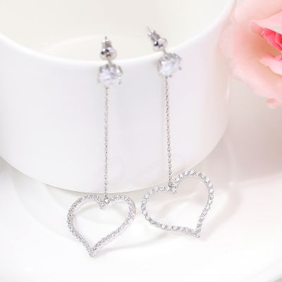Cute Cubic Zirconia Heart Drop Earrings Love Earrings S925 Pins