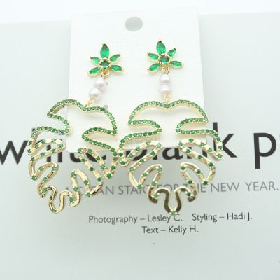 Cute Pearl Rhinestones Monstera Earring S925 Sterling Silver Earrings
