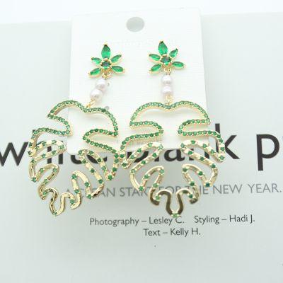 Cute Pearl Rhinestones Monstera Earring S925 Sterling Silver Earrings