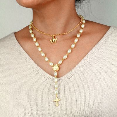 Cute Pearls Angel Cross Pendants Boho Layer Necklace for Woman