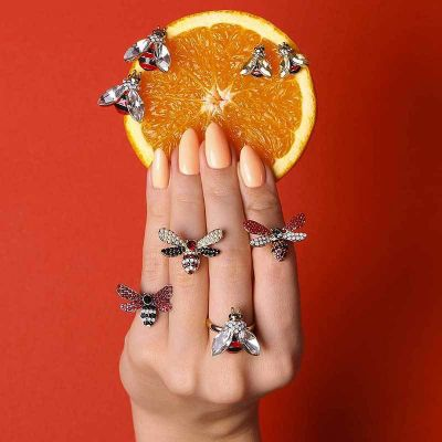 Cute Rhinestones Bee Ring Set Adjustable Midi Ring 7 Pcs
