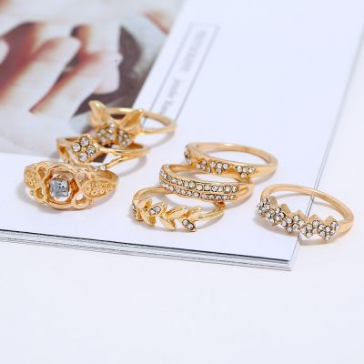 Cute Rhinestones Butterfly Leaf Rings Midi Layered Ring Set 8 Pcs