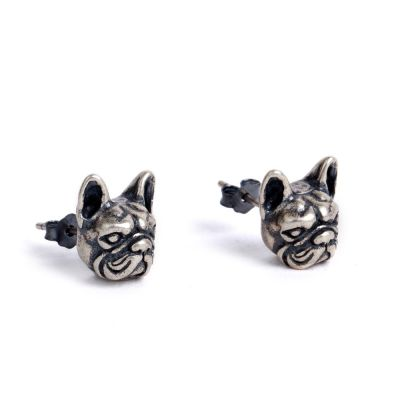Cute Sterling Silver Dog Ear Stud Animal Earrings