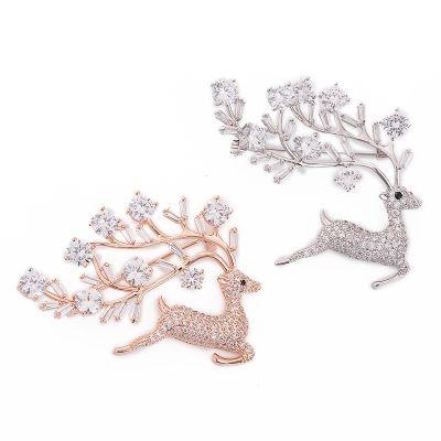 Deer Cubic Zircon Women Brooches Gift Idea for Her