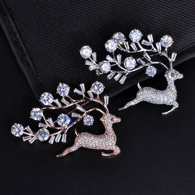 Deer Cubic Zircon Women Brooches Gift Idea for Her