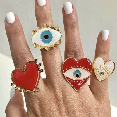 Devil Eyes Hearts Chamrs Rings Set Adjustable Midi Ring