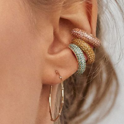 Rhinestones Ear Clip Small Hoop Earring