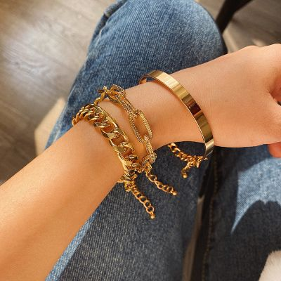 Fashion Bangle Statement Chunky Bracelet Chain Set