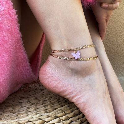 Fashion Butterfly Ankle Chian Bracelet Set 2 Pieces in Gold