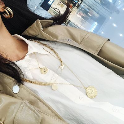 Fashion Coin Pin Pendants Layer Necklace Chain