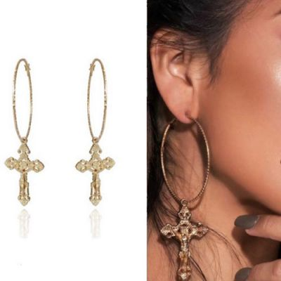 Fashion Cross Drop Big Hoop Earrings with S925 Antiallergic Pins