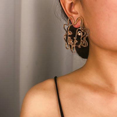 Fashion Hollow Out Face Stud Earrings Statement Earring