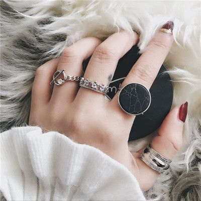 Fashion Ladies Ring Set Adjustable Punk Rings 4 Pcs