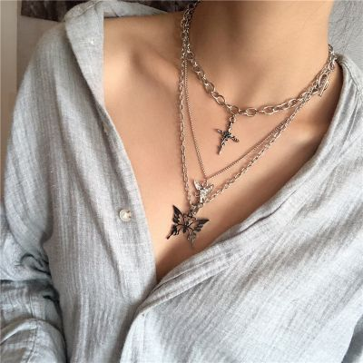 Fashion Layering Necklaces Cross Butterfly Pendants Alloy Necklace for Party