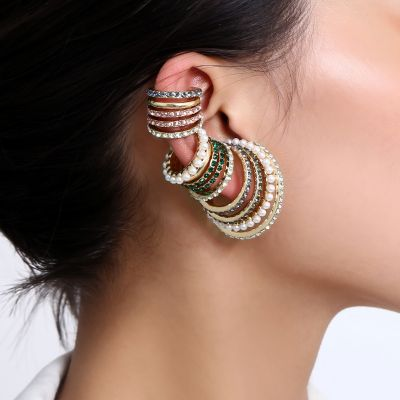 Fashion Pearl Rhinestone Clip-on Hoop Earring Mismatched Earring