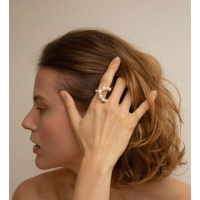 Fashion Pearls Open Rings Bridal Adjustable Ring in Gold