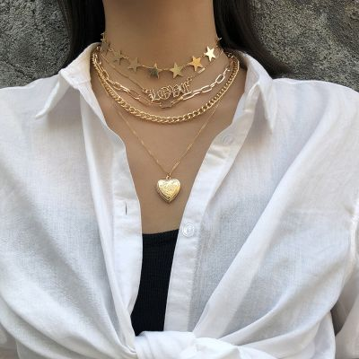 Fashion Stars Heart LOVE Pendants Layered Necklace Set
