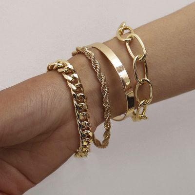 Fashion Twis Chain Chunky Layer Bracelets Bangles