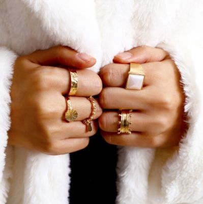 Fashionable Stable Rings Midi Ring Set 5 Pcs
