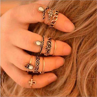Faux Crystal Vintage Rings Set 10 Pcs Beach Boho Midi Rings