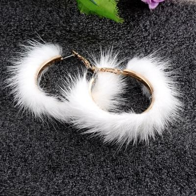 Faux Fur Big Hoop Earrings Ladies Statement Earring