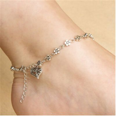 Flower Heart Charm Ankle Chain Bracelets Gifts for Her
