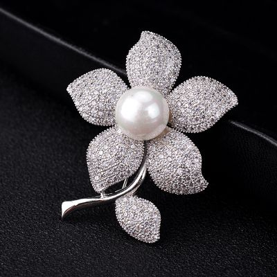 Flowers Cubic Zircon Brooches Suit Collar Pins for Work
