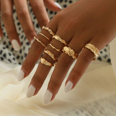 Geometric Layering Rings Simple Midi Ring 9 PCsSet